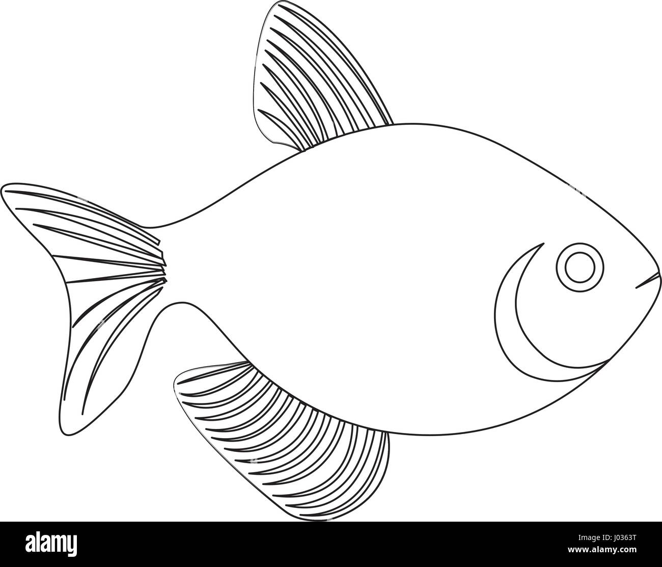 silhouette fish aquatic animal icon flat - Stock Vector