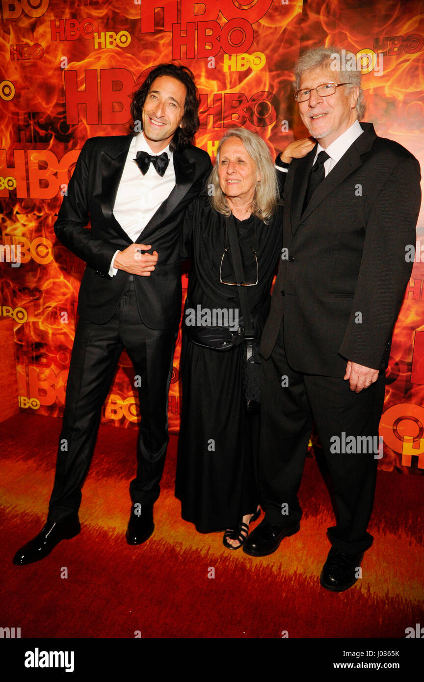 Adrien Brody and parents attend HBO's 2015 Emmy After Party at the Pacific Design Center on September 20th, - Stock Image