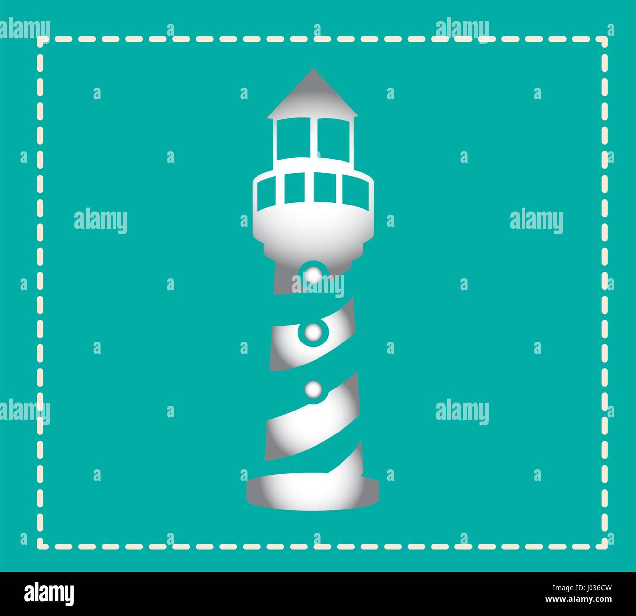 colorful square shape frame with tower of lighthouse - Stock Vector