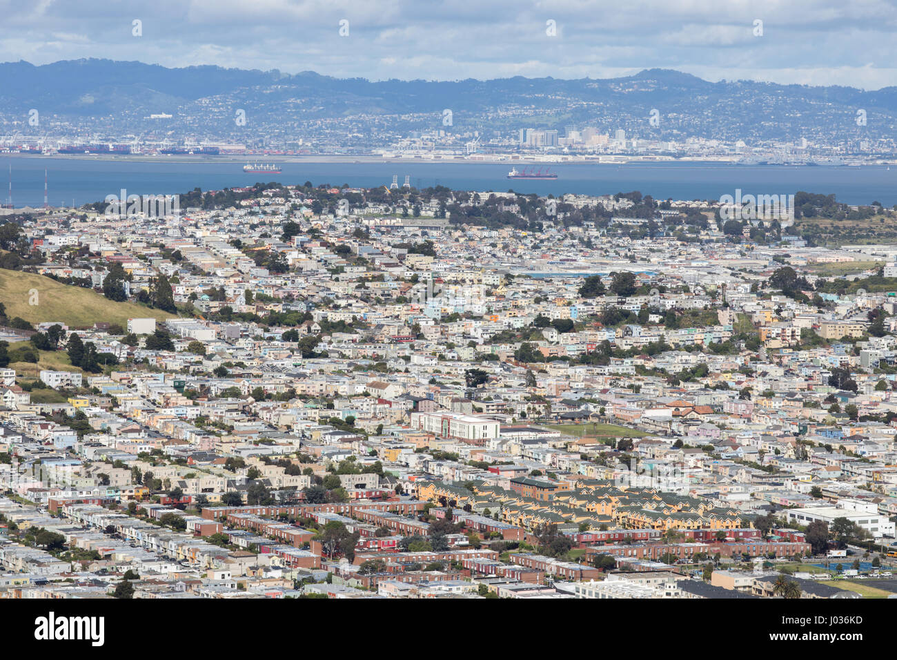 Aerial View of Daly City and Brisbane from San Bruno Mountain State Park. - Stock Image