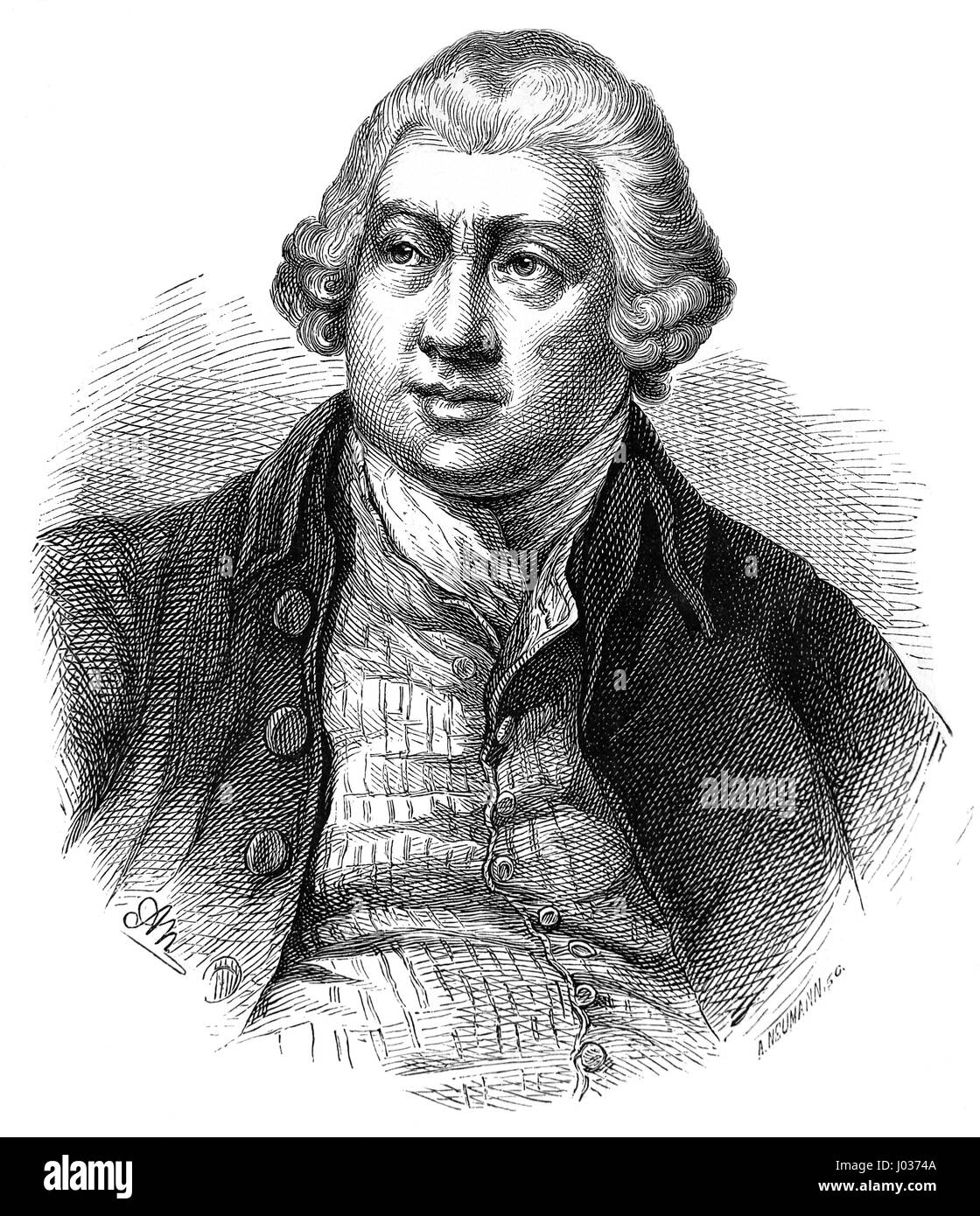 Richard Arkwright (1732-1792). Inventing the spinning frame. Engraving. Nuestro Siglo, 1883. Spanish edition. Stock Photo