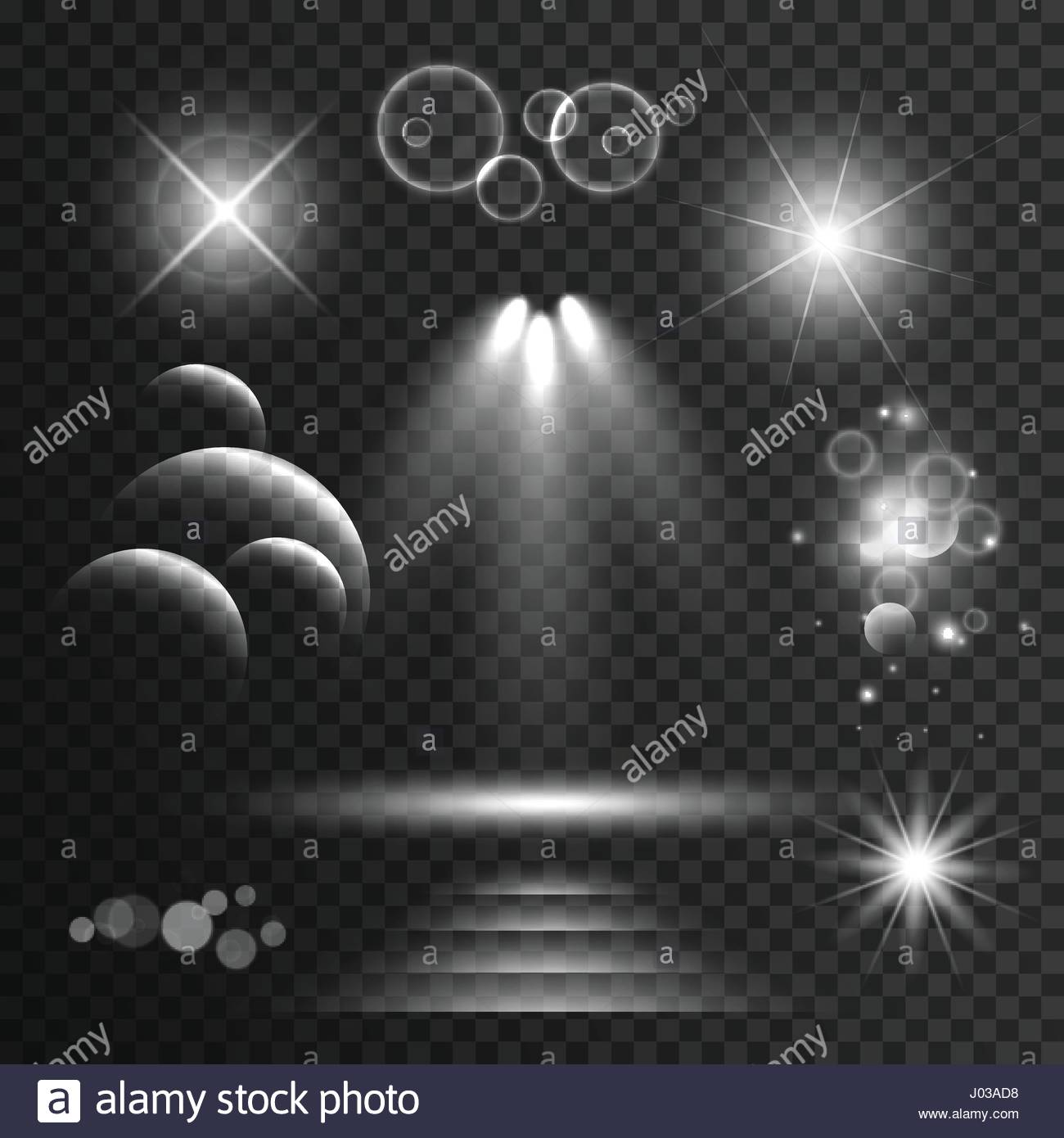 set of transparent light effects and sparkles with lens flares background Stock Vector