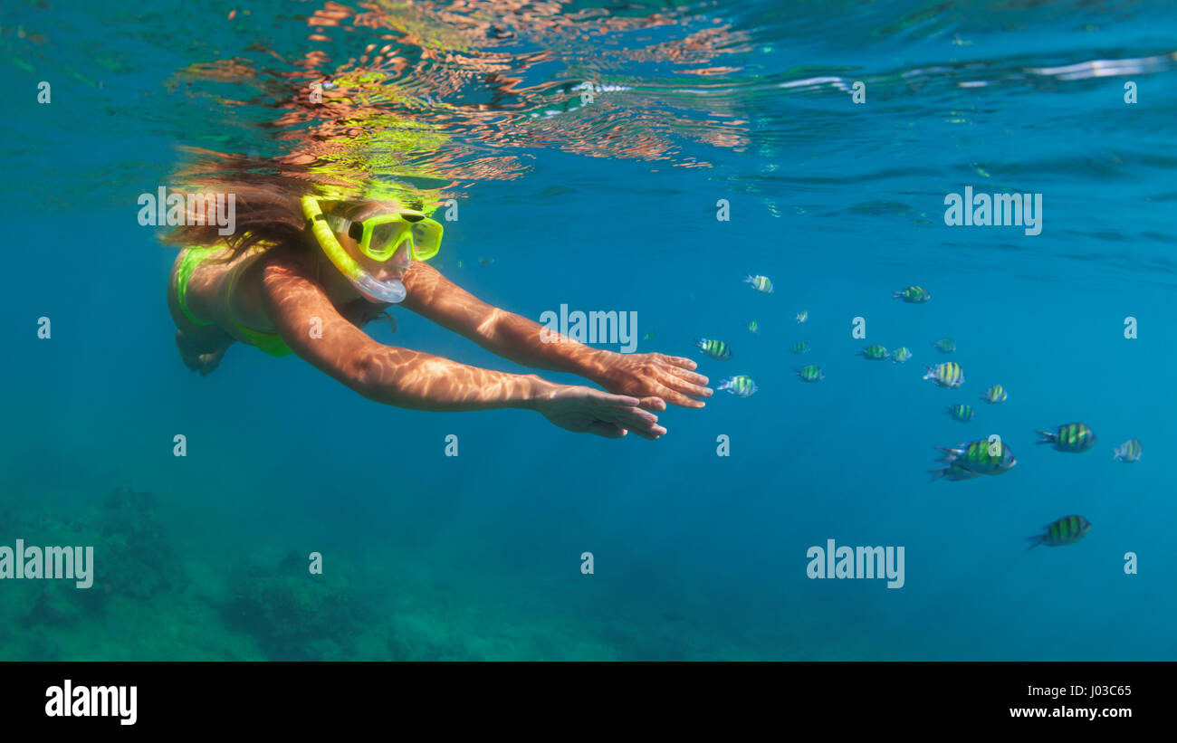 Happy family - girl in snorkeling mask dive underwater with fishes school in coral reef sea pool. Travel lifestyle, Stock Photo