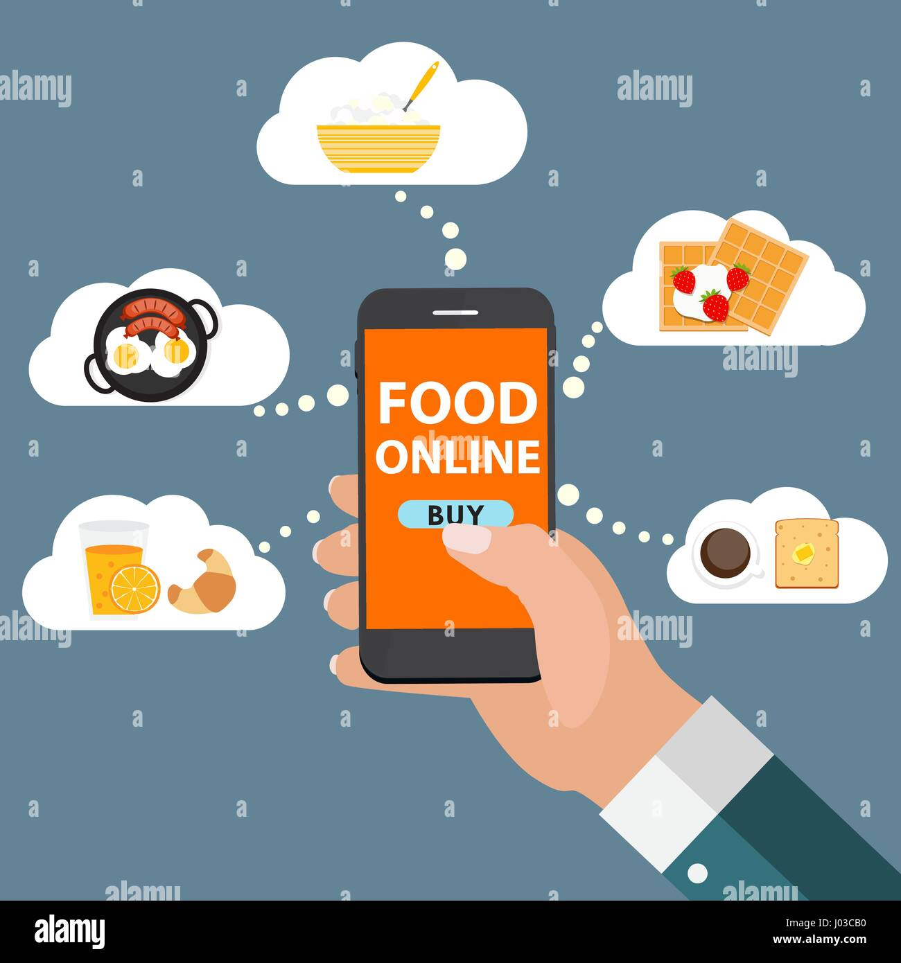 Mobile Apps Concept Online Food Delivery Shopping E Commerce I