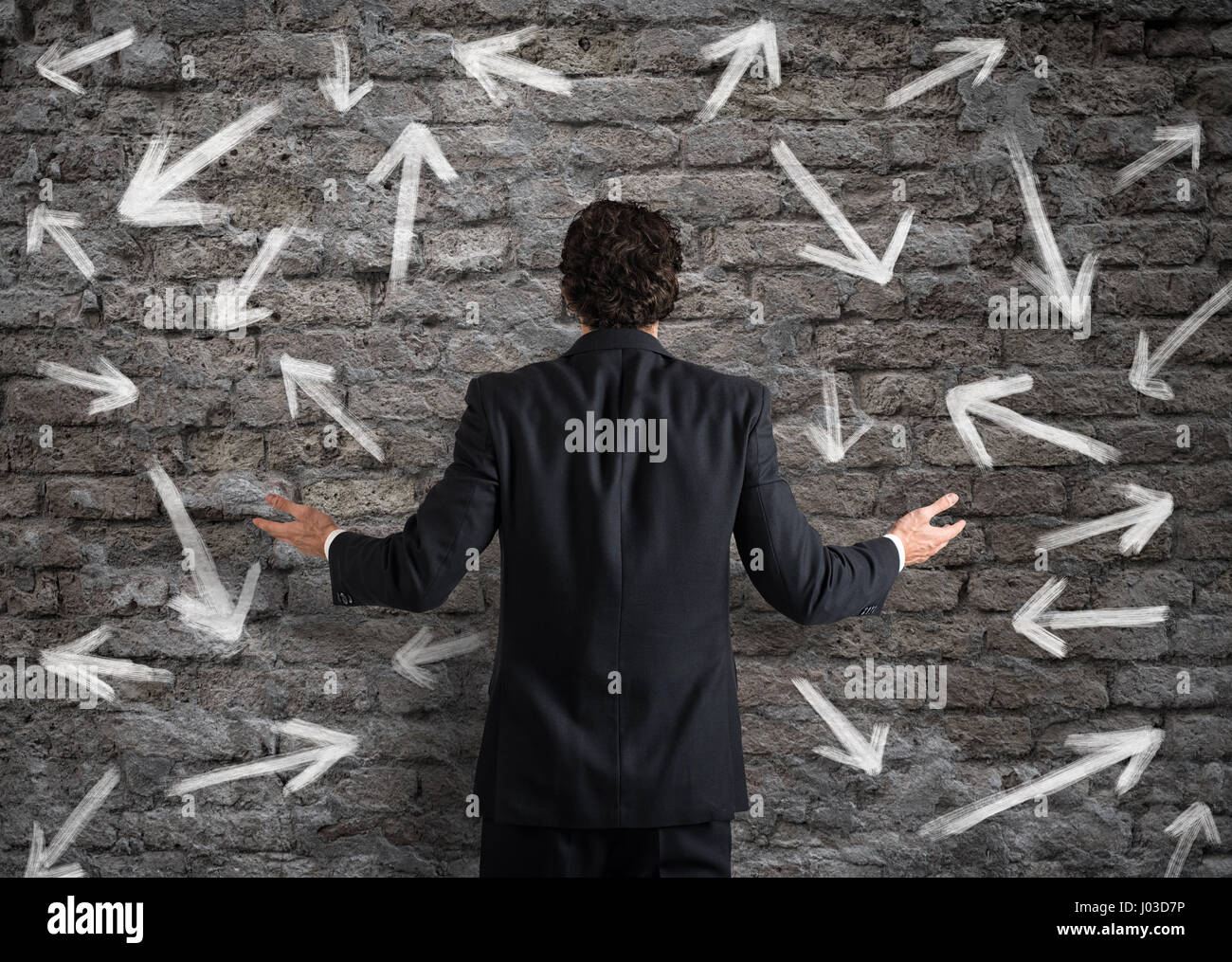 Difficult choices of a businessman - Stock Image
