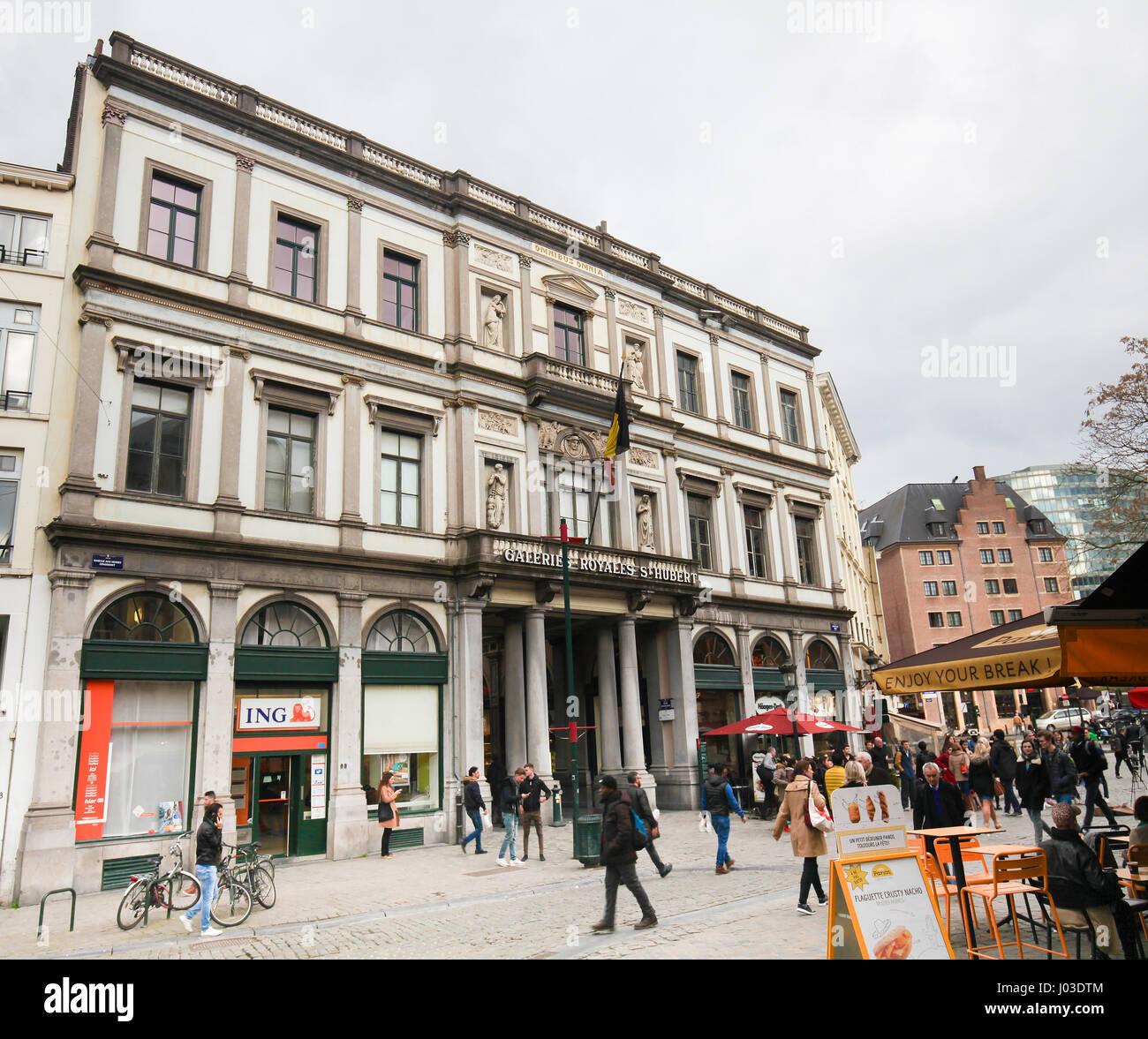 The Galeries Royales Saint-Hubert (French) or Koninklijke Sint-Hubertusgalerijen (Dutch) is a glazed shopping arcade - Stock Image