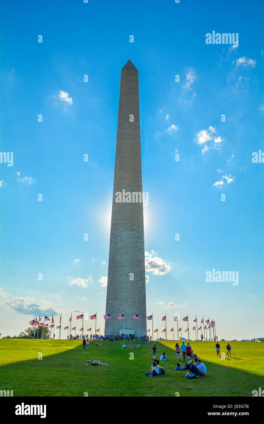 Washington Monument in a sunny afternoon, Washington D.C. - Stock Image
