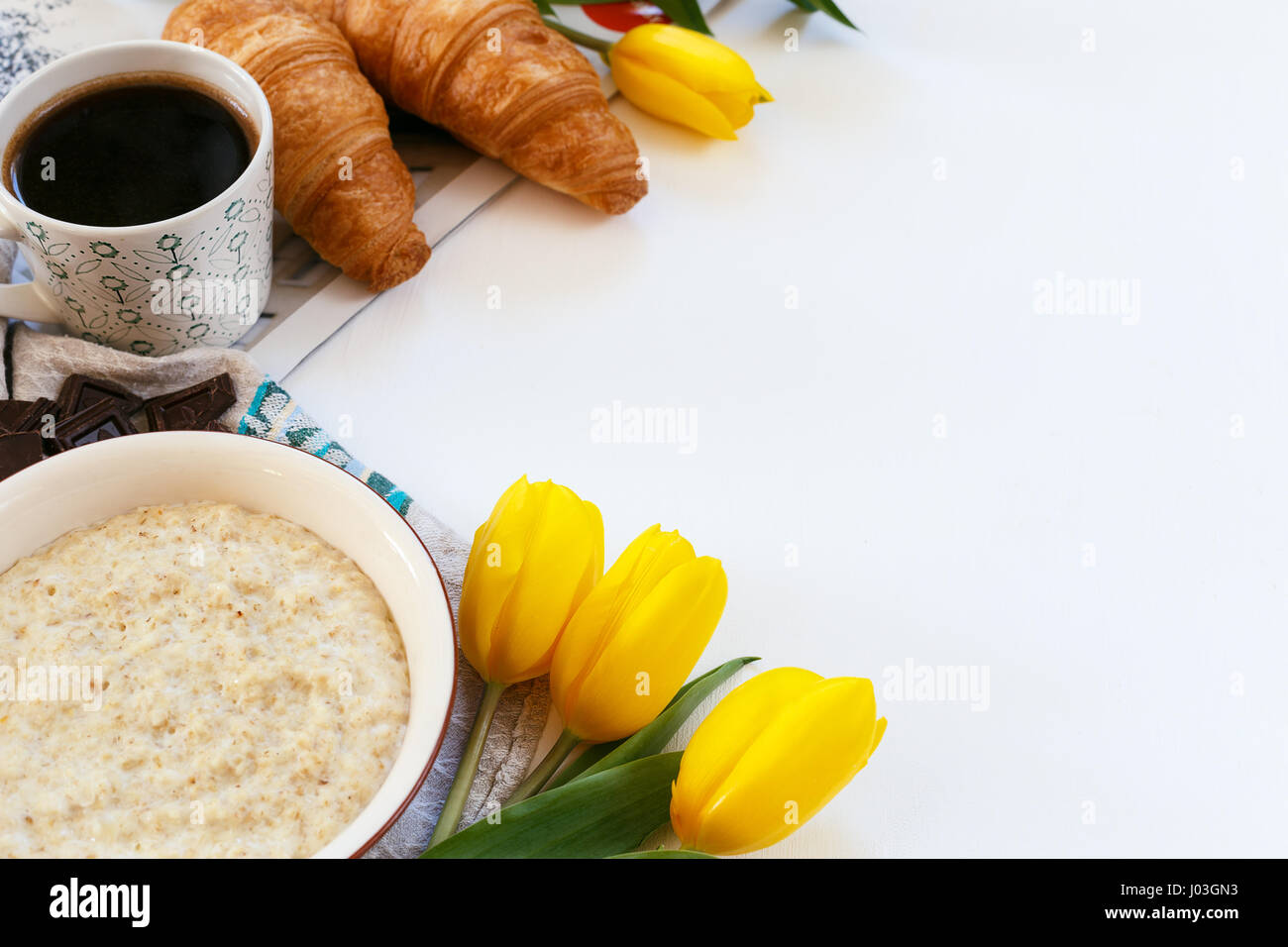 Healthy breakfast contained of different ingredients on a white background Stock Photo
