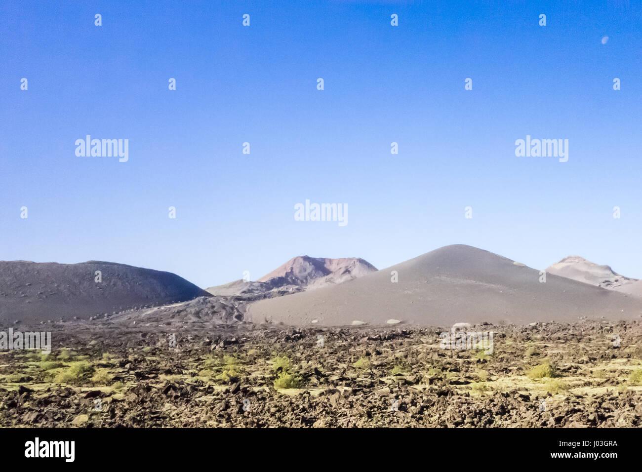 Volcanoes around Caldera de la Rilla, just outside the National Park of Timanfaya in Lanzarote. - Stock Image