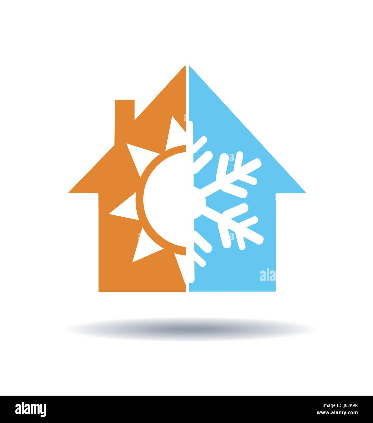 Air conditioning symbol - warm and cold in home - Stock Vector