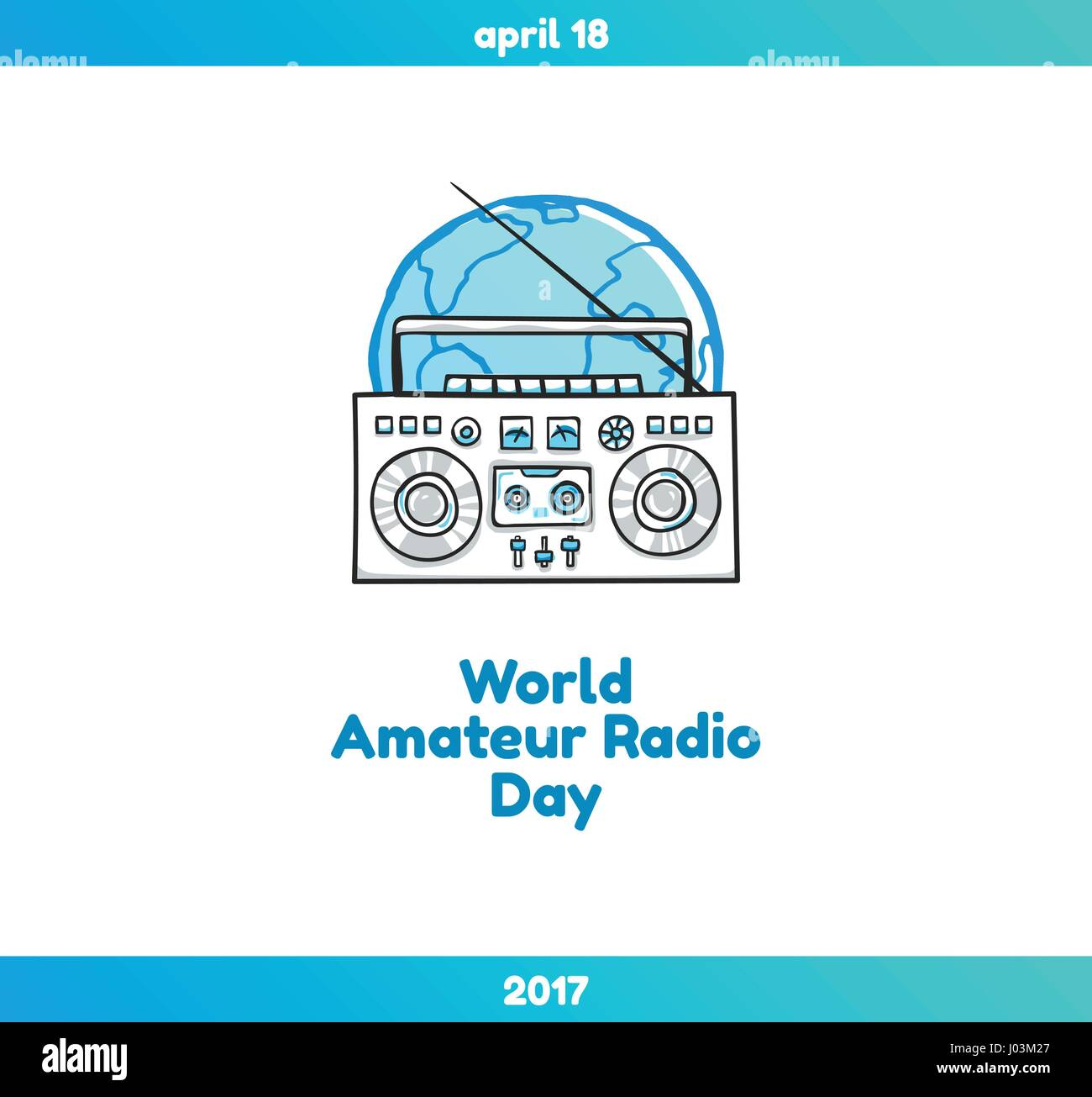 World Amateur Radio Day, April 18. Vector illustration with globe and  radio. Hand drawn sketchy illustration