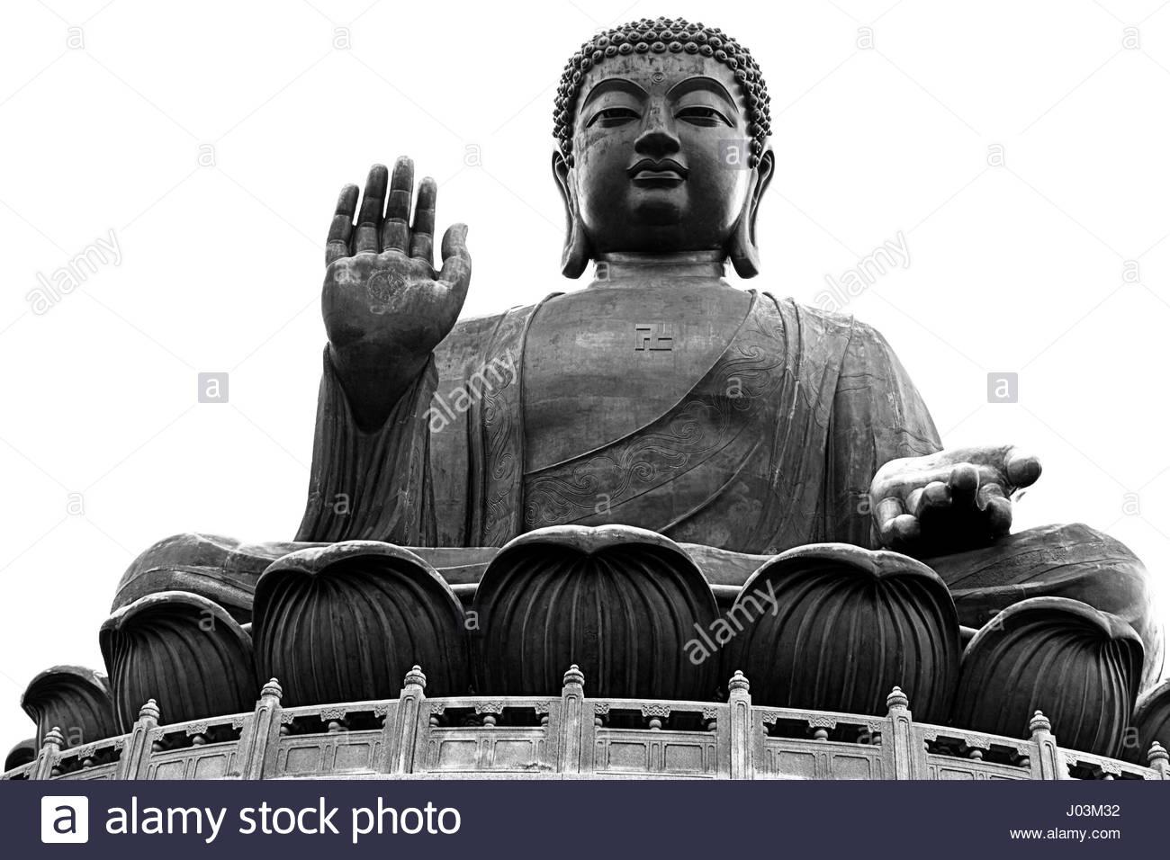 seated Tian tan Buddha Hong Kong black white - Stock Image