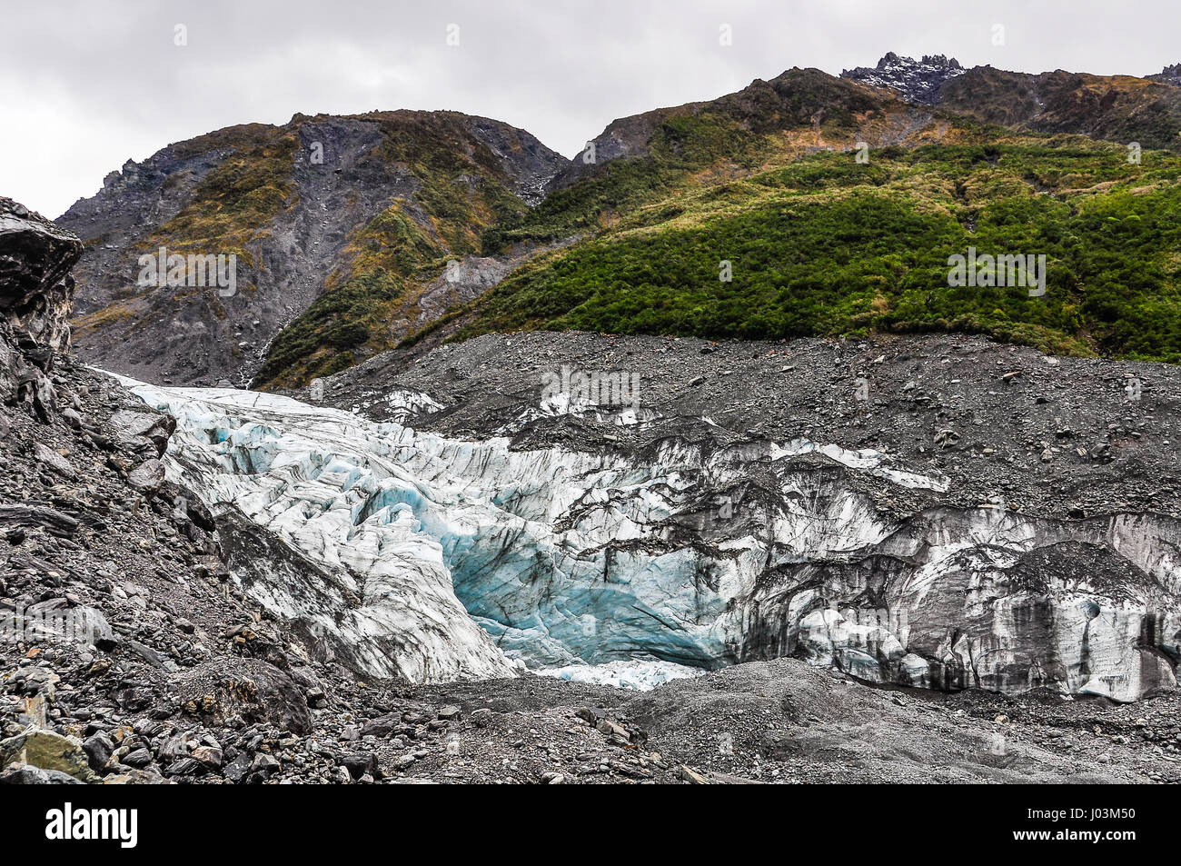 The view of Fox Glacier in winter in New Zealand - Stock Image