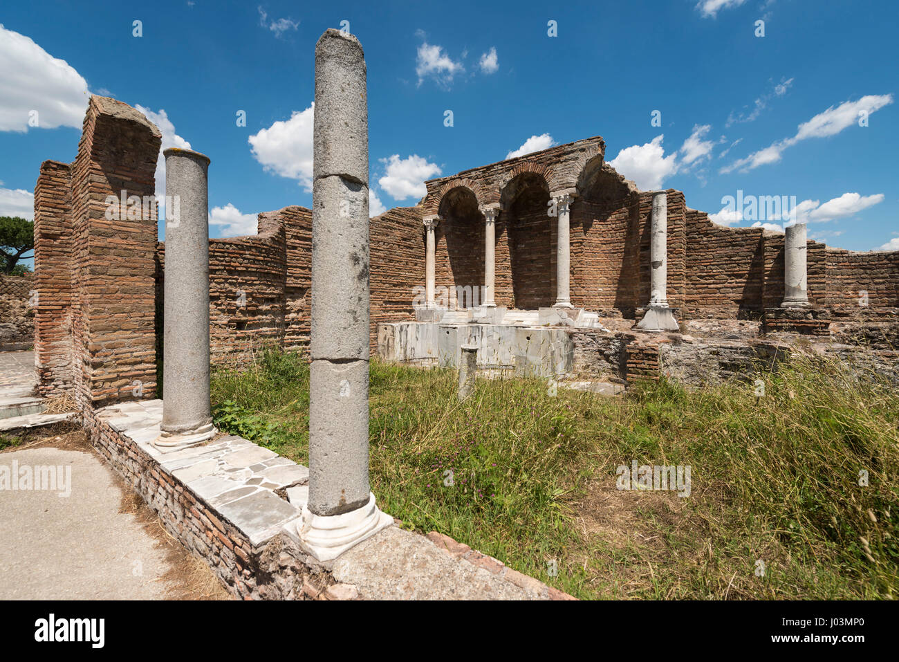 Rome. Italy. Ostia Antica. House of Cupid & Psyche, nymphaeum. Domus di Amore e Psiche, Ninfeo, - Stock Image