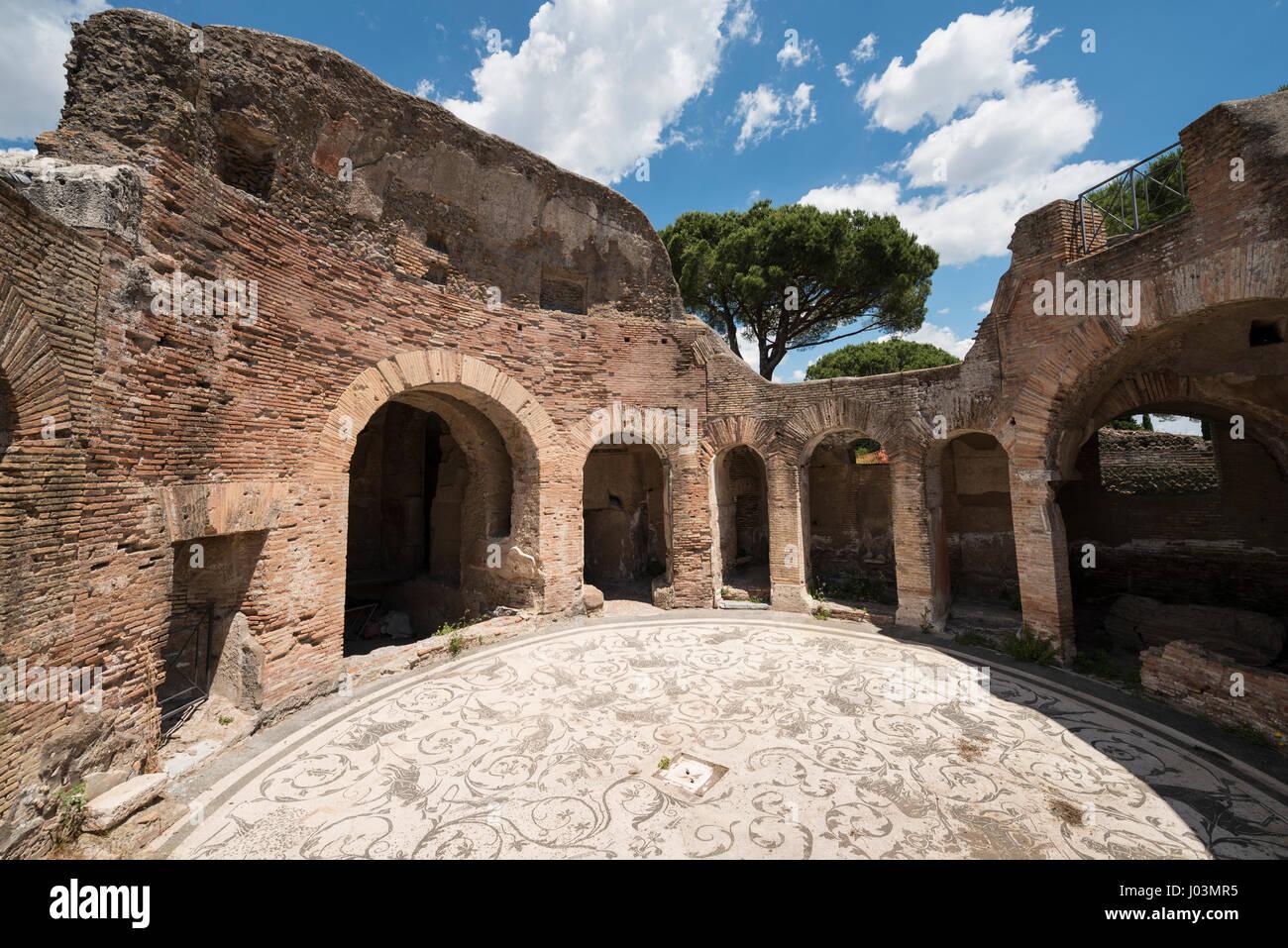 Rome. Italy. Ostia Antica. Baths of the Seven Sages, circular room of the frigidarium. Terme dei Sette Sapienti. - Stock Image