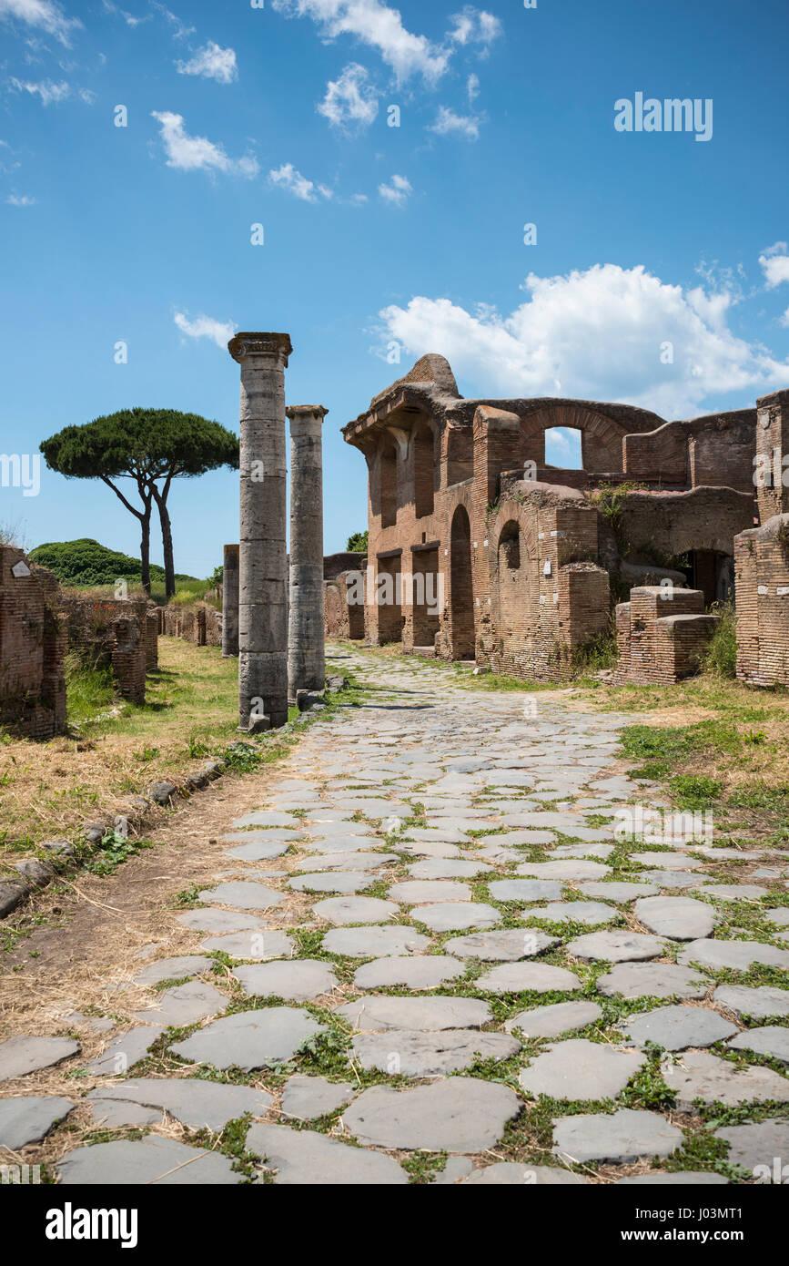 Rome. Italy. Ostia Antica. Building of the Charioteers on Charioteers street. Caseggiato degli Aurighi, Cardo degli - Stock Image
