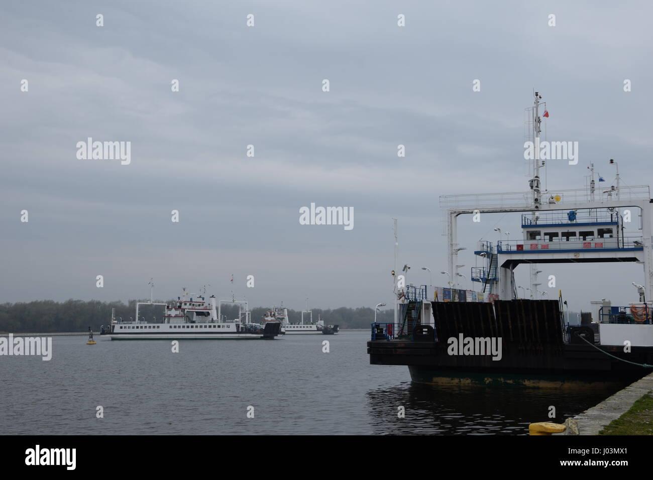 Car ferries across Swina river to Swinoujscie in Poland Stock Photo