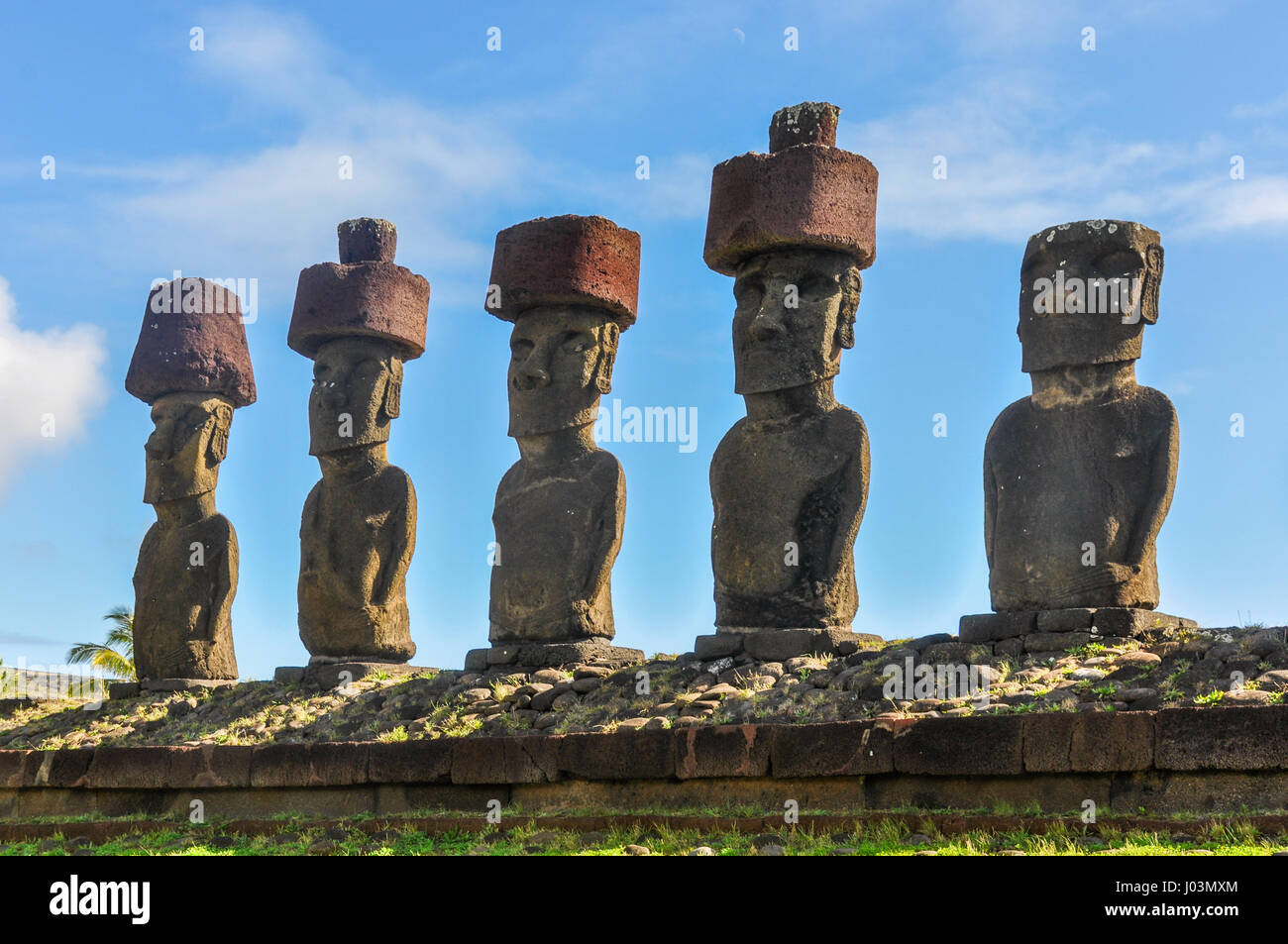 Moai statues standing on Anakena Beach in Easter Island, Chile - Stock Image