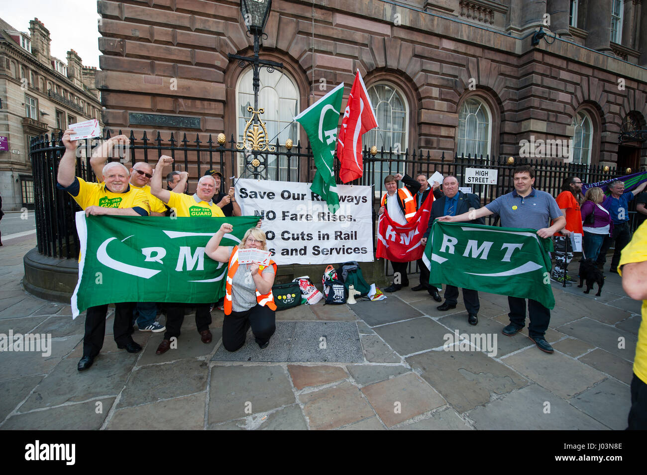 Members of the RMT Union campaigning for support from Liverpool Council against the implementation of Drive Operated - Stock Image