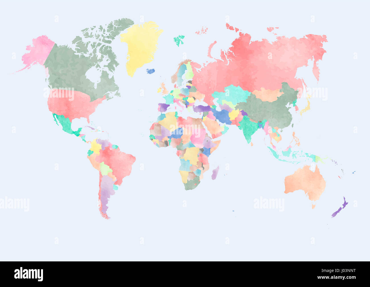 Watercolor map of the world with countries Stock Photo: 137765876 ...