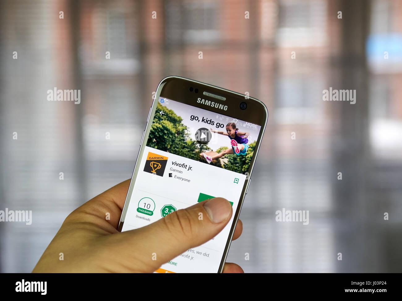 MONTREAL, CANADA - MARCH 10, 2017 : Garmin Vivofit jr app on
