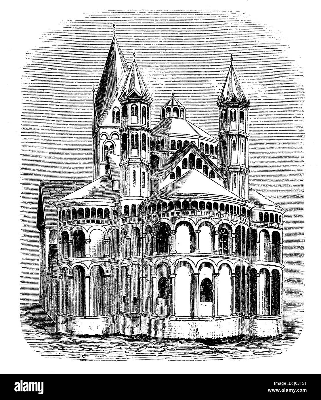 Vintage engraving of  Basilica of the Holy Apostles, built from XI century to XIII century in Cologne (Koeln) Germany - Stock Image