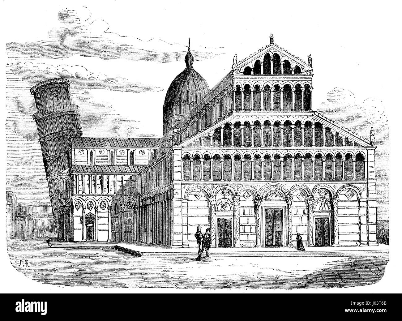 Vintage engraving of Pisa cathedral with the leaning tower, dedicated to the Assumption of the Virgin Mary, in the - Stock Image