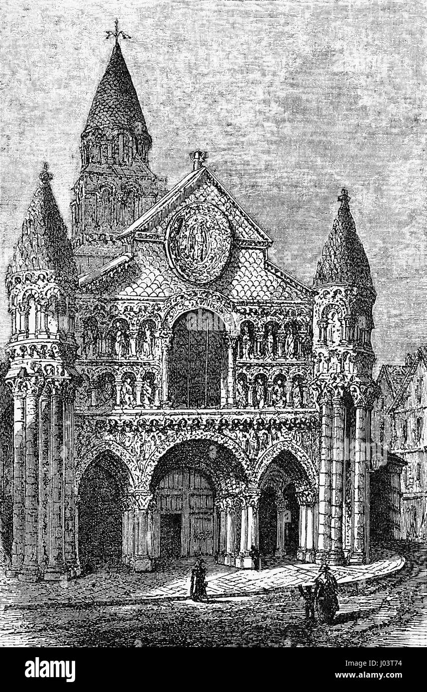 Vintage engraving of Notre-Dame la Grande, Roman Catholic church in Poitiers, France, masterpiece in High Romanesque - Stock Image