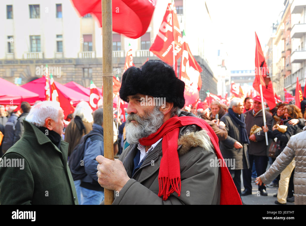 Padua, Italy, March 12th, 2010. General strike. A demonstrator. Portrait. - Stock Image