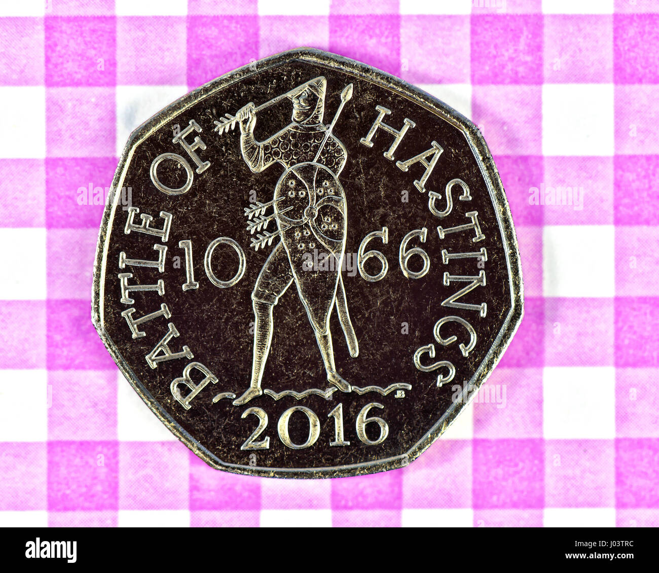 Battle of Hasting 1066 50P piece coin - Stock Image