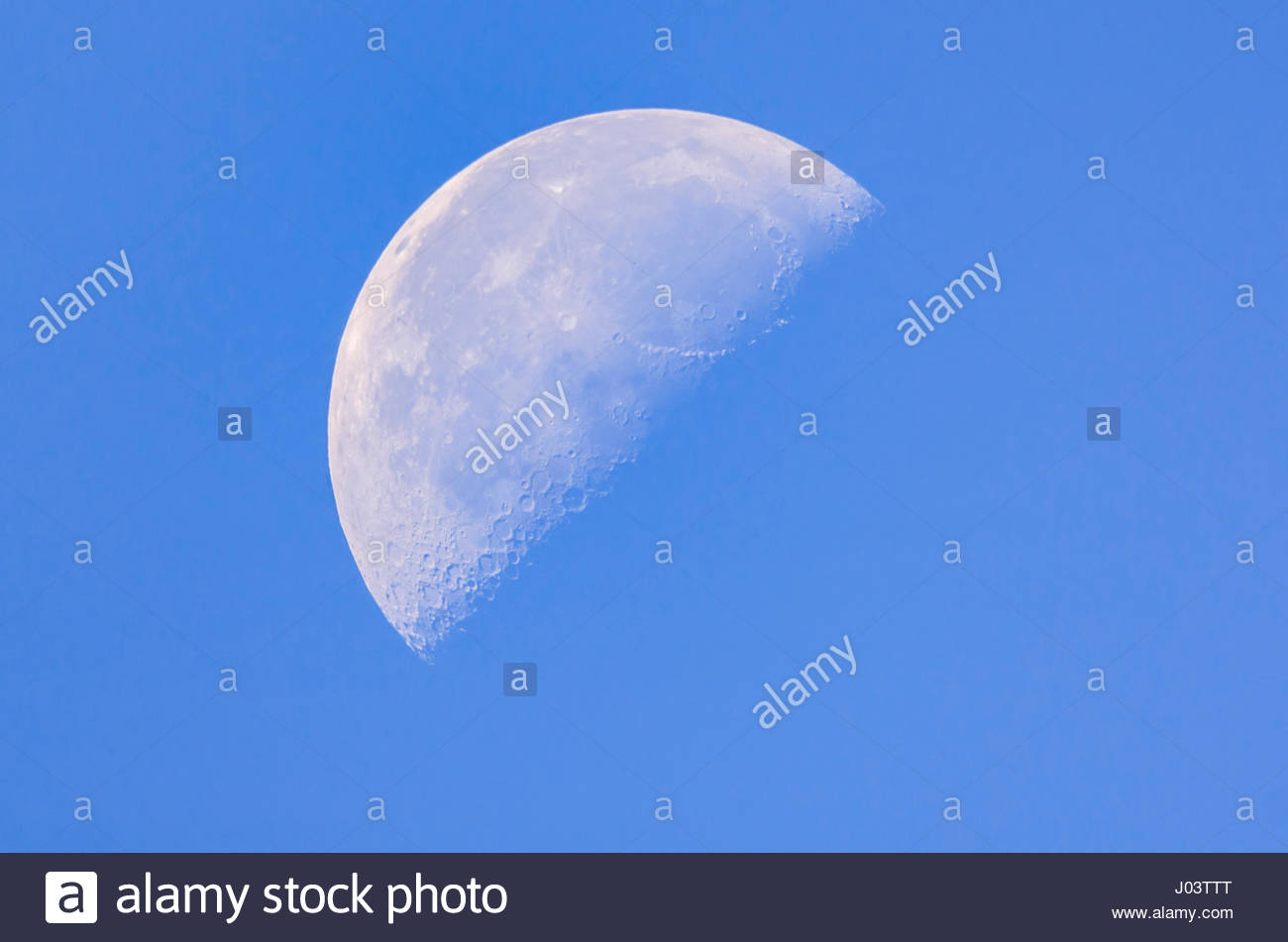 Third Quarter moon (AKA last quarter or half moon) phase of the moon in daytime against blue sky, in September. - Stock Image