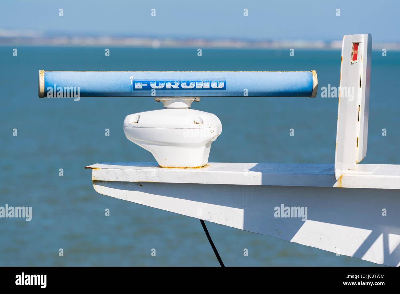 Furuno marine radar sensor on a ship at sea. - Stock Image