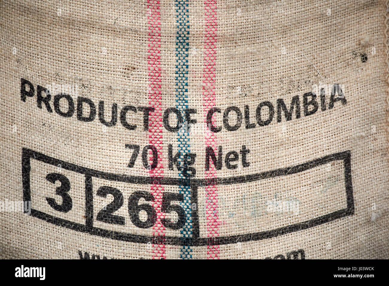 product of colombia hessian coffee bean sack UK - Stock Image