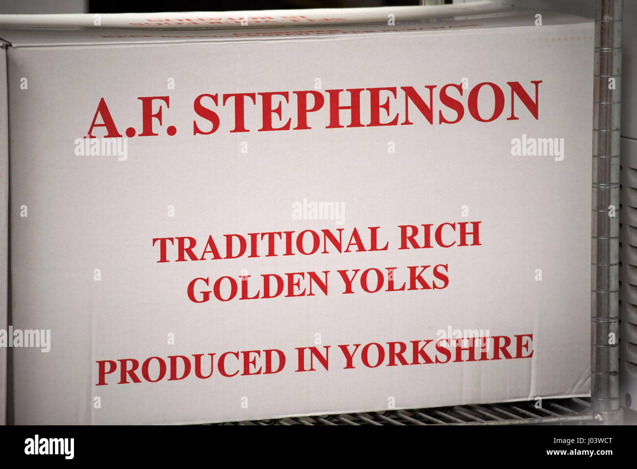 box of yorkshire produced eggs Liverpool UK - Stock Image