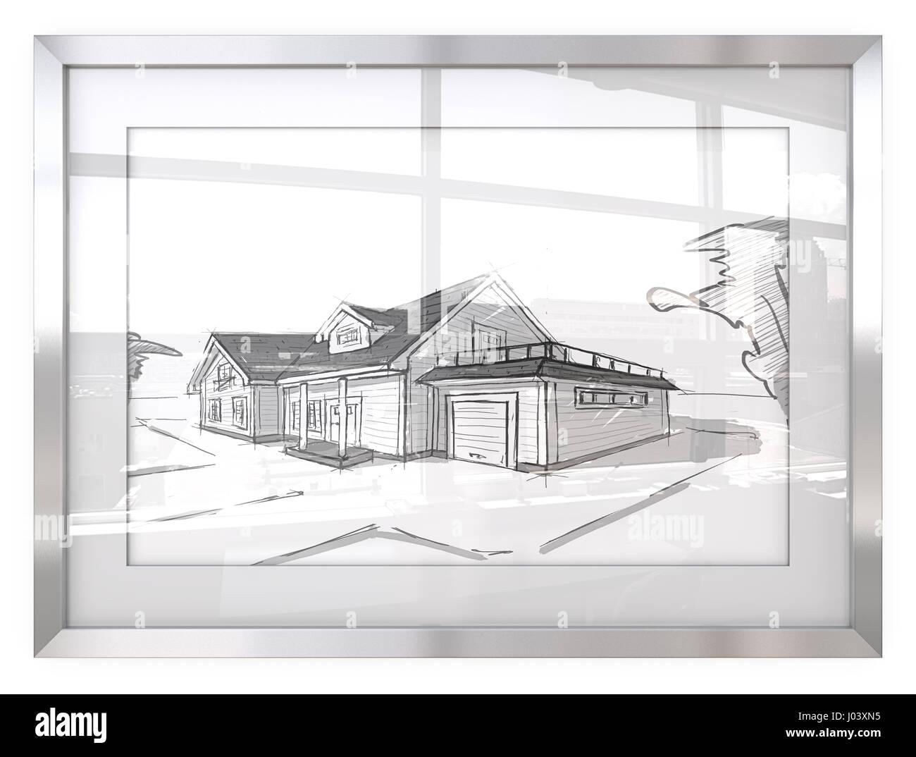 architectural buildings sketches. Unique Buildings Picture Frame With Architectural House SketchesGeneric Building  Reflective Glass Cityscape View 3D Render To Buildings Sketches T