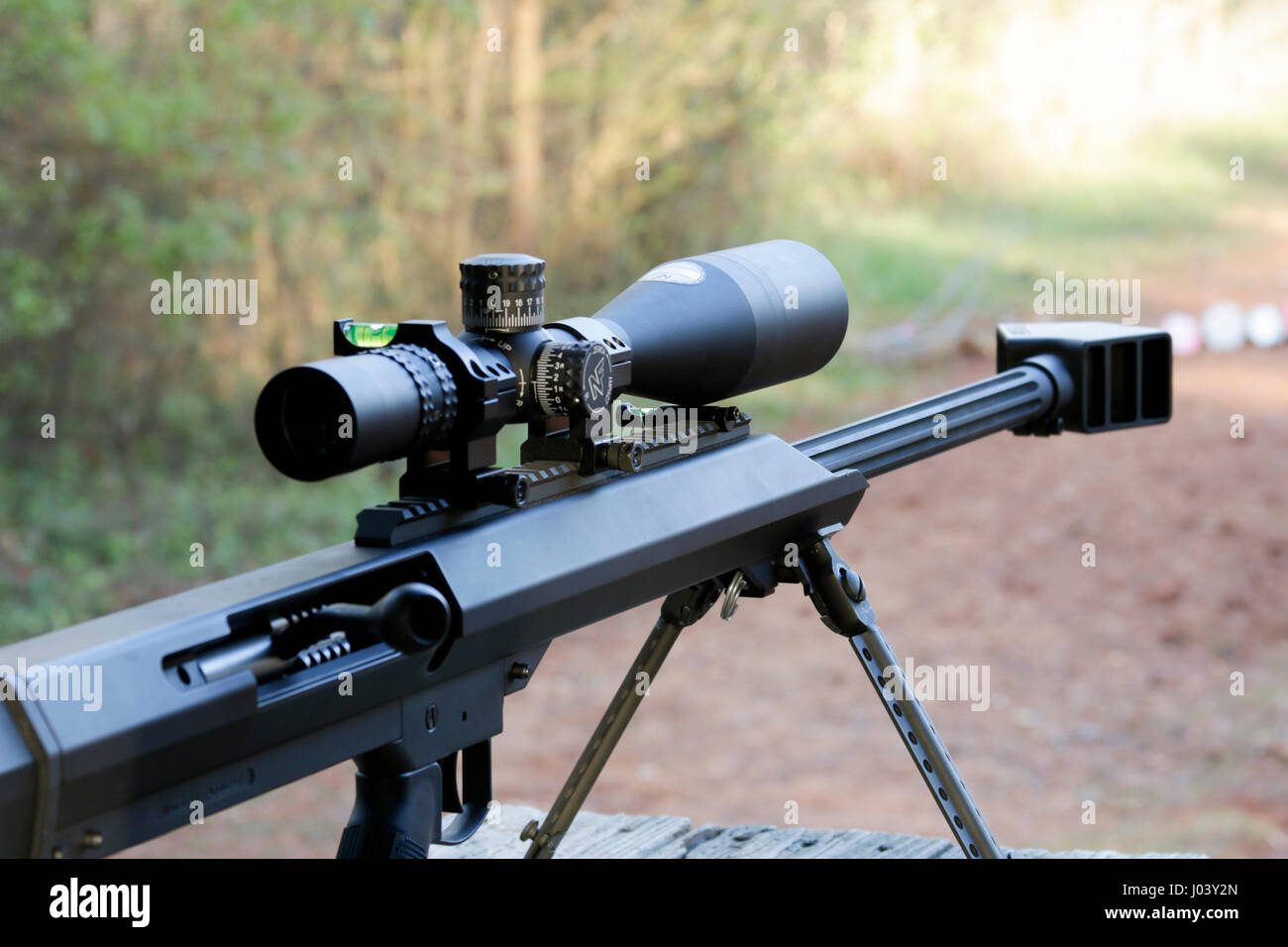 barrett model 99 50 caliber bolt action rifle with scope at leeds