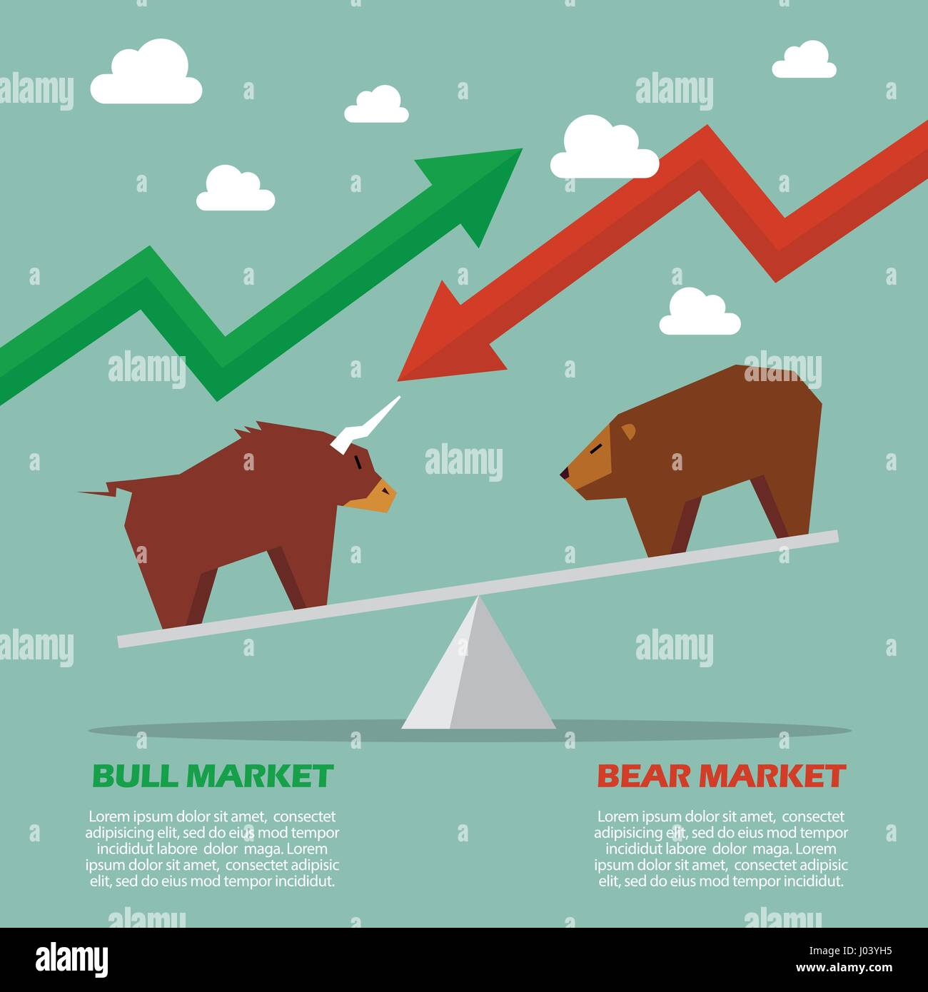 Bull and bear on balance scale infographic symbol of stock market bull and bear on balance scale infographic symbol of stock market biocorpaavc Images