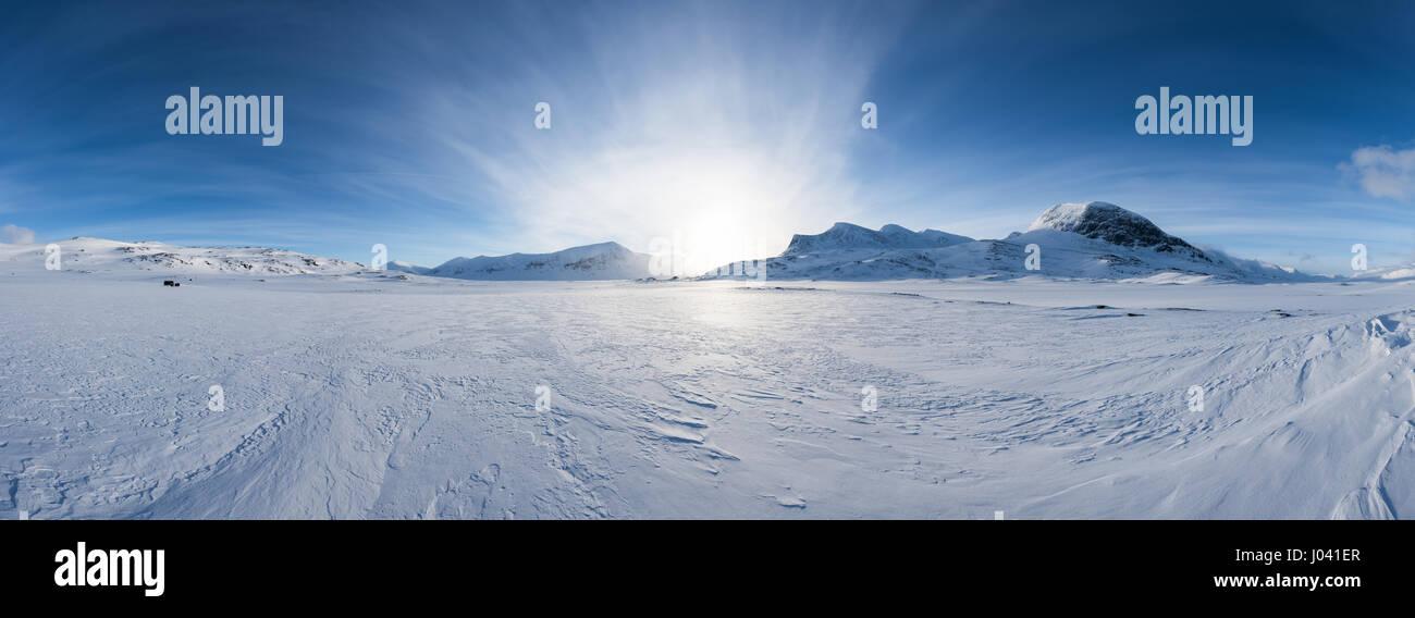 Ski touring in Abisko region and national park, Sweden, Europe - Stock Image