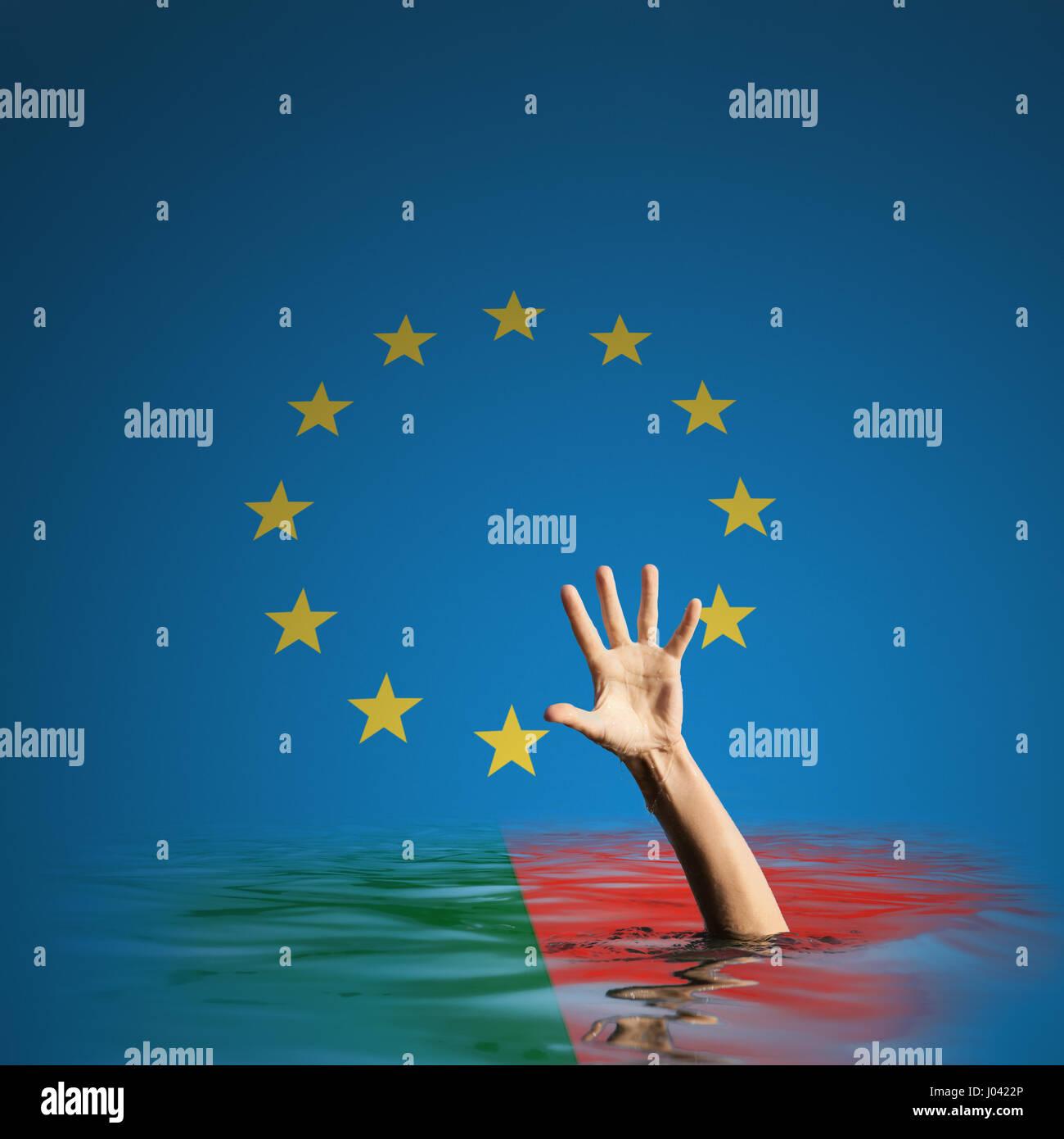 Portugal debt crisis in European Union 3d illustration - Stock Image