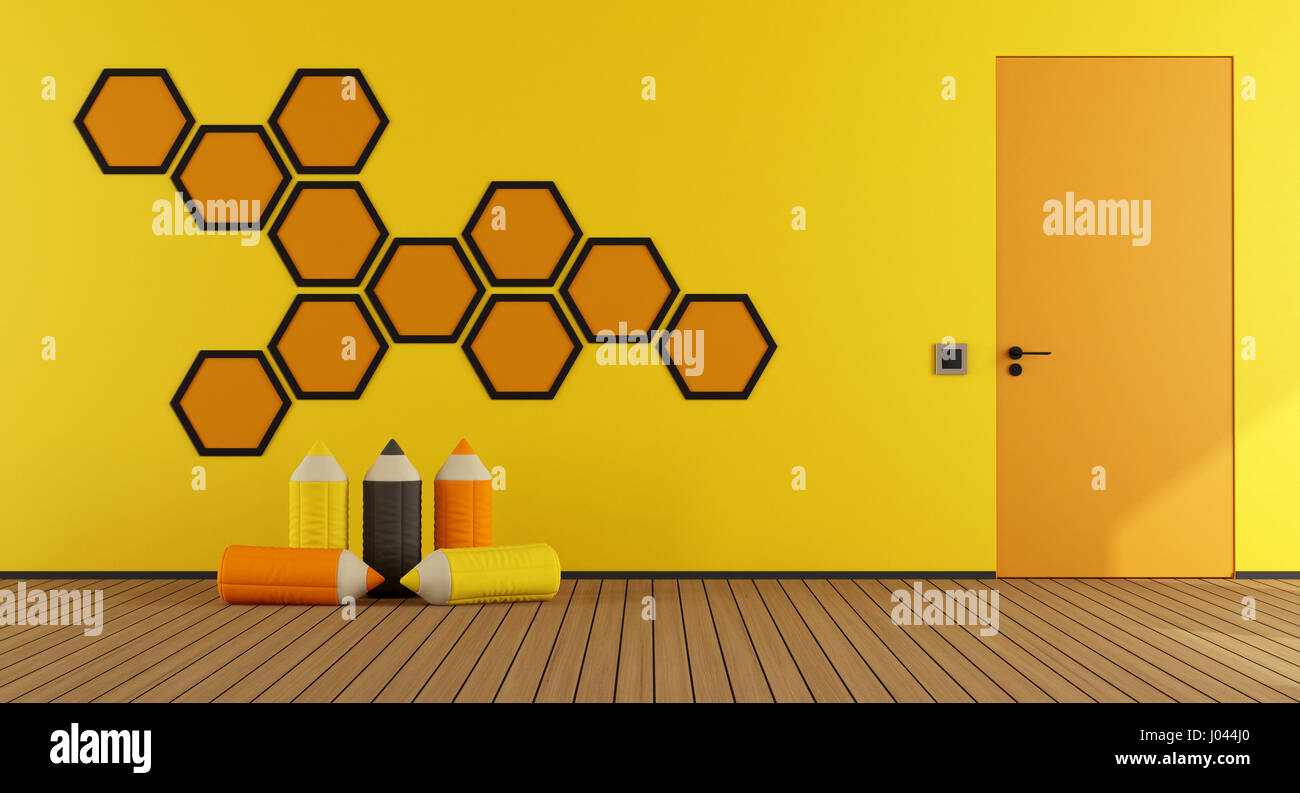 Playroom with hexagon decorations on wall and closed door - 3d Stock ...