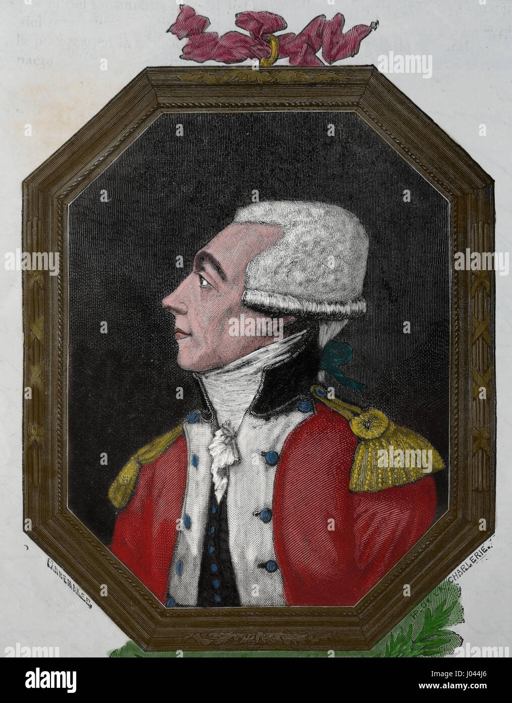 Marquis de Lafayette (1757-1834). French aristocral and military. Engraving Nuestro Siglo,1883.  Spanish edition. - Stock Image