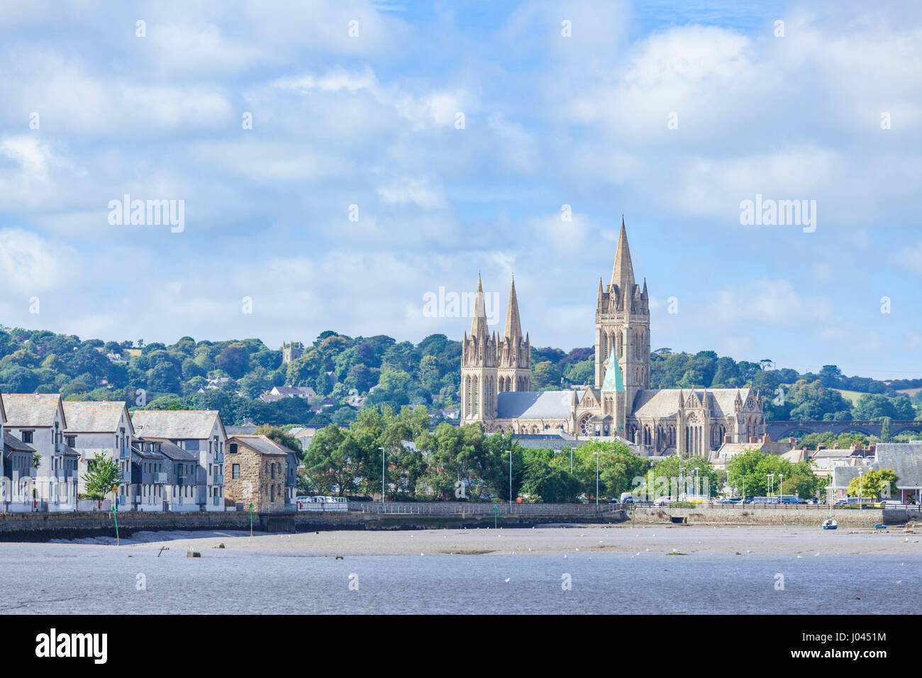 truro cornwall truro cathedral with three spires city of truro cornwall west country england uk gb europe - Stock Image