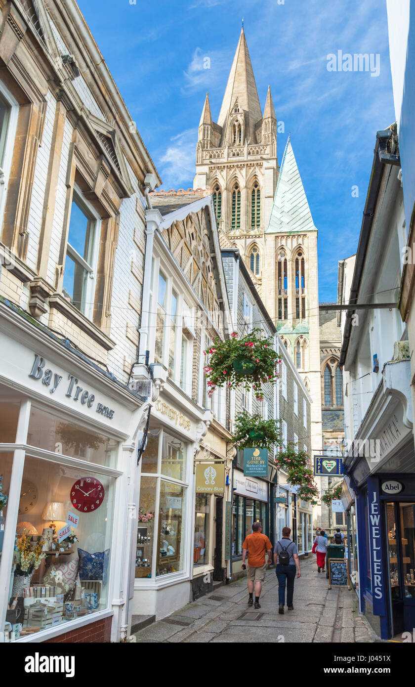 truro cornwall georgian shops and cathedral city of truro cornwall west country england uk gb europe - Stock Image