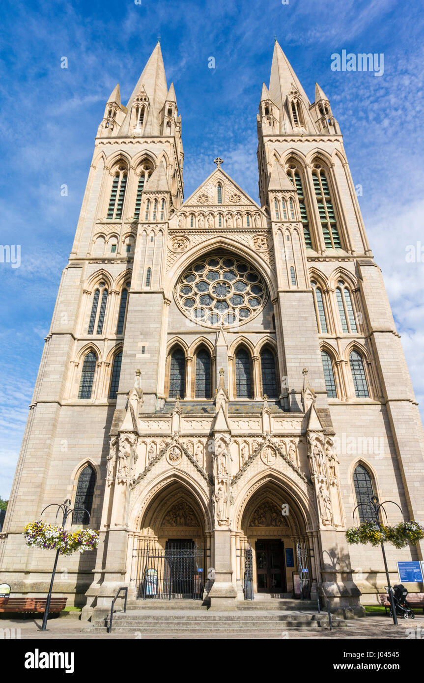 truro cornwall truro cathedral with three spires high cross city of truro cornwall west country england uk gb europe - Stock Image
