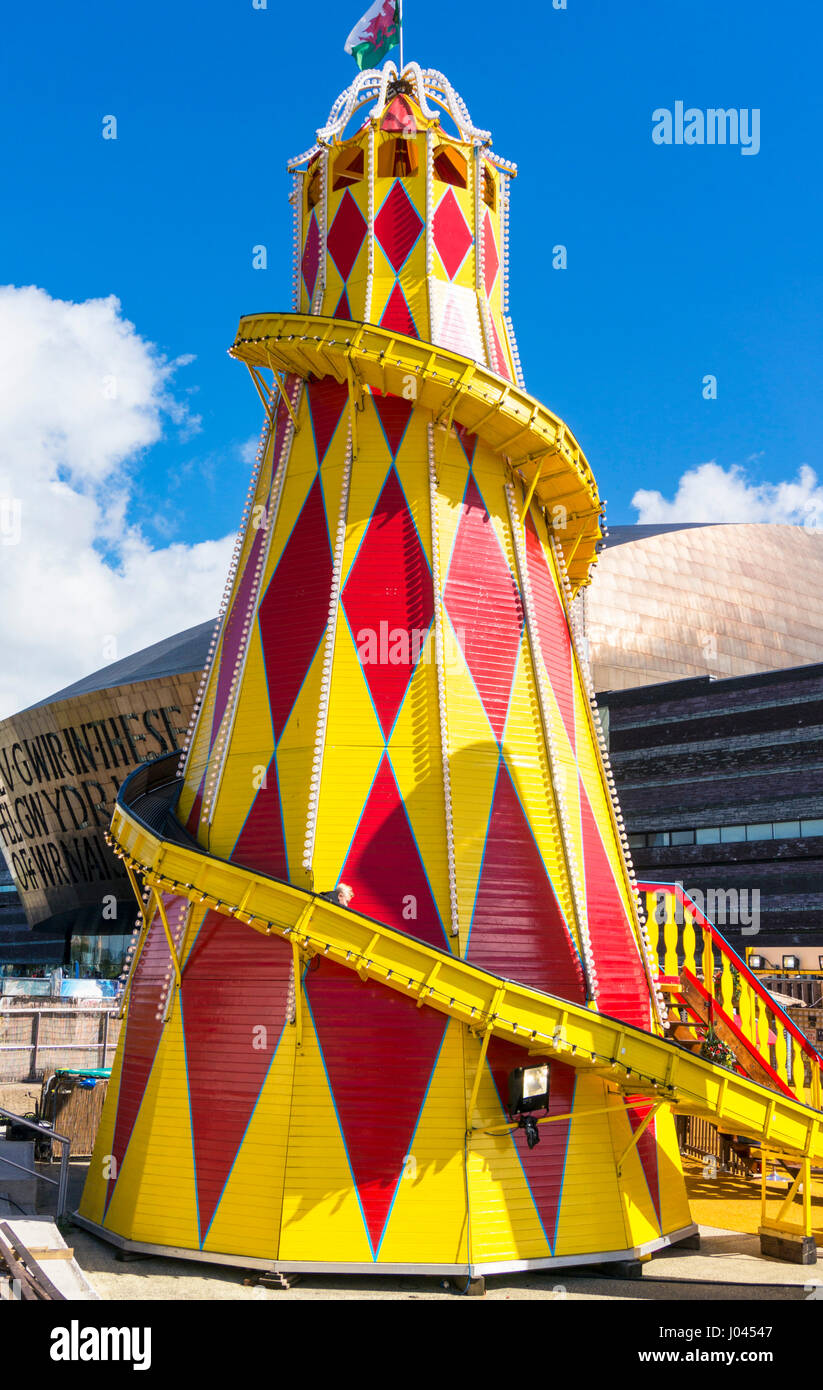 Cardiff bay Funfair in Roald Dahl Plass public space in Cardiff Bay area Cardiff South Glamorgan South Wales GB - Stock Image