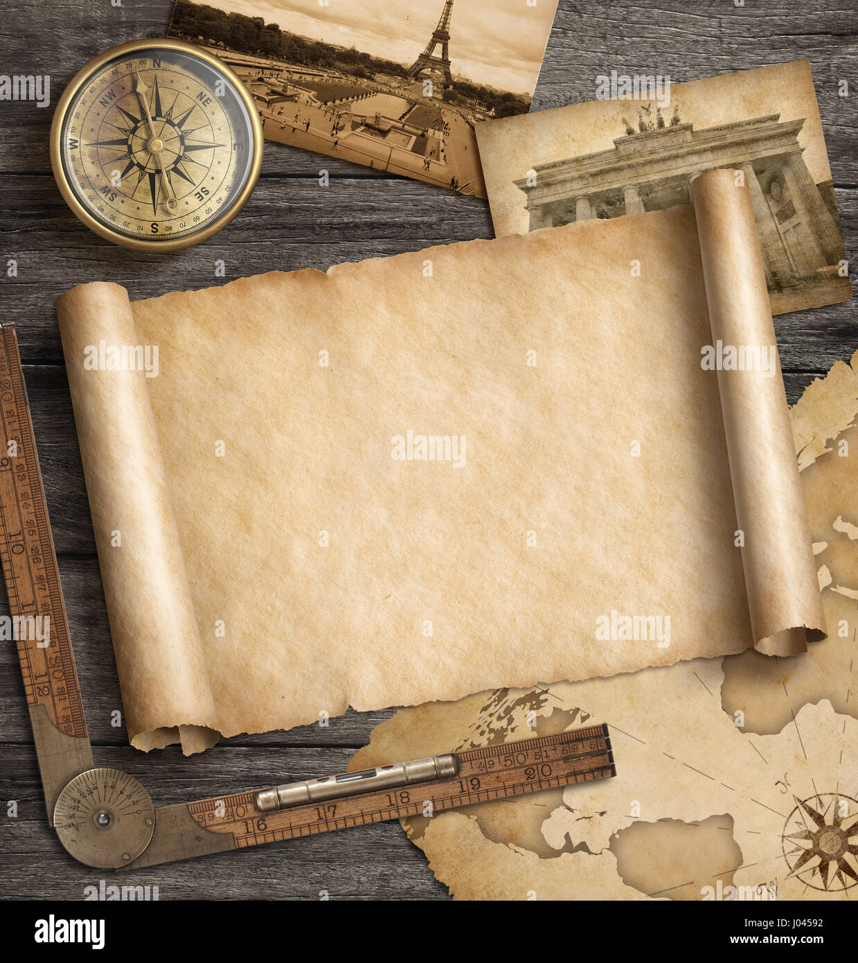Antique Scroll Map: Old Map Background With Compass. Adventure And Travel