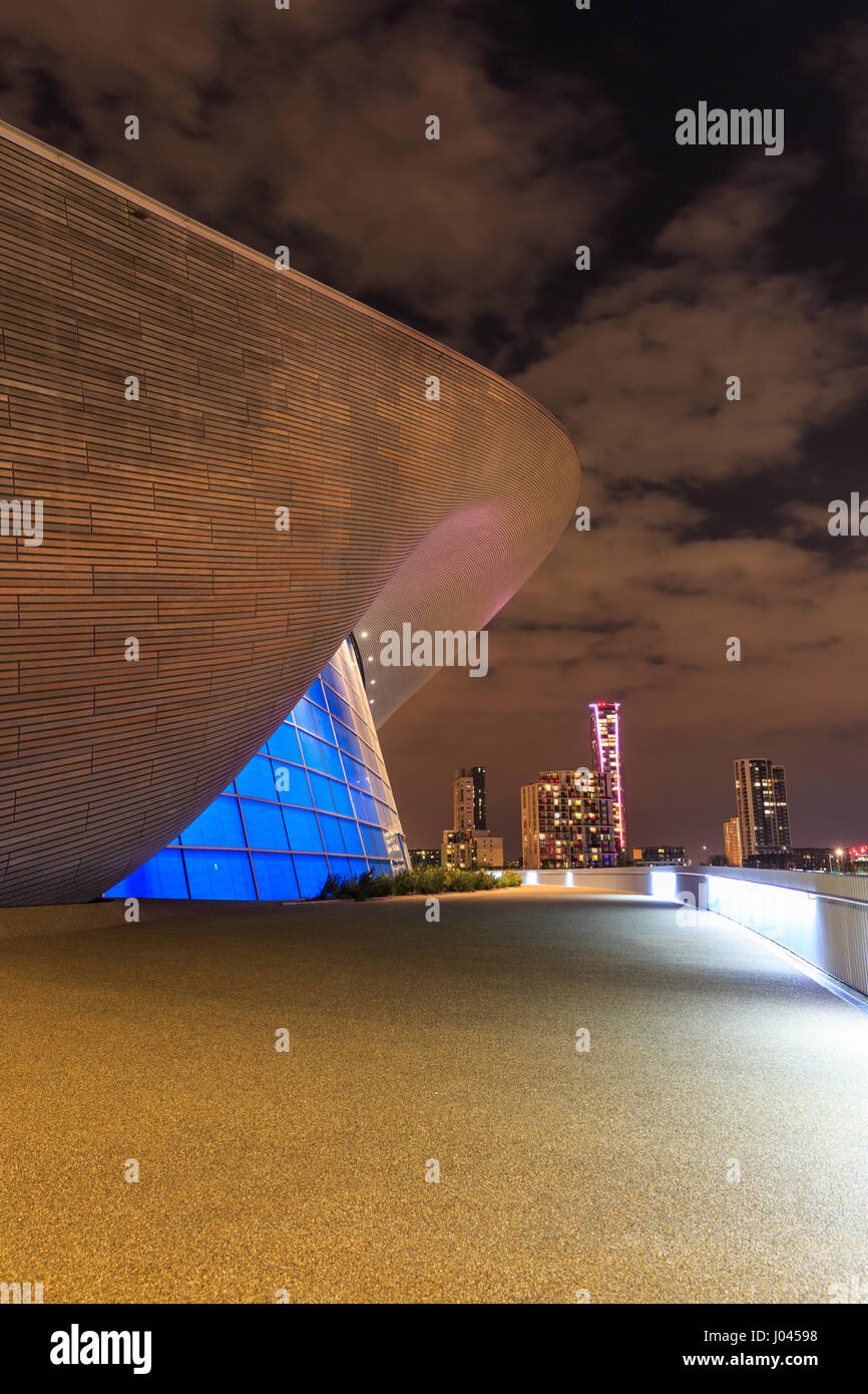 Olympic swimming pool night stock photos olympic - Queen elizabeth olympic park swimming pool ...