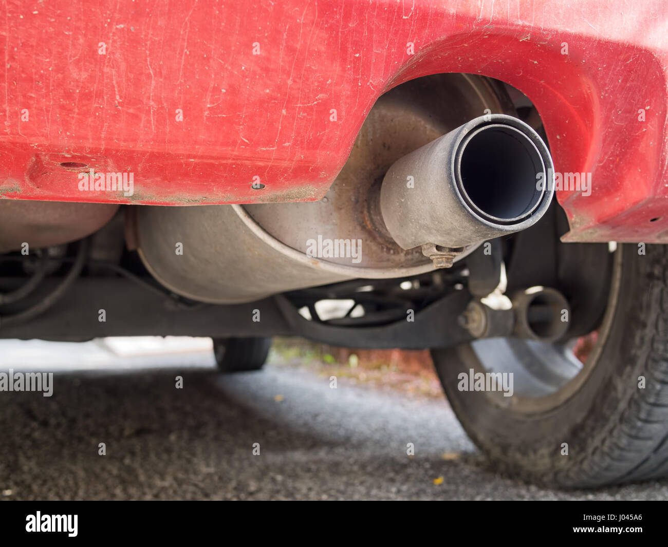 Diesel car exhaust with visible soot. - Stock Image