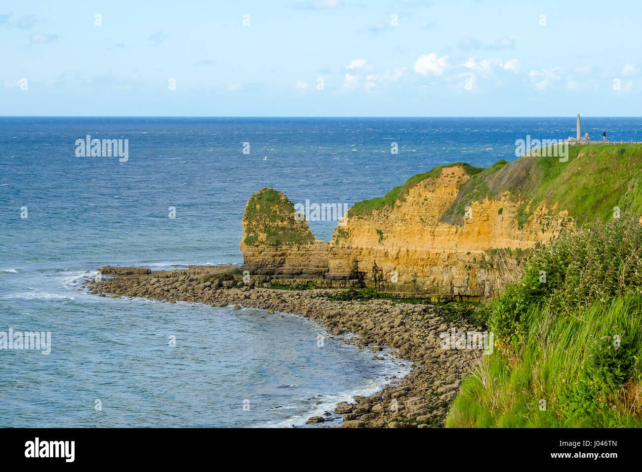 Pointe du Hoc, coast in Normandy site of allied invasion during D-day of World War II, monument to Rangers. Stock Photo