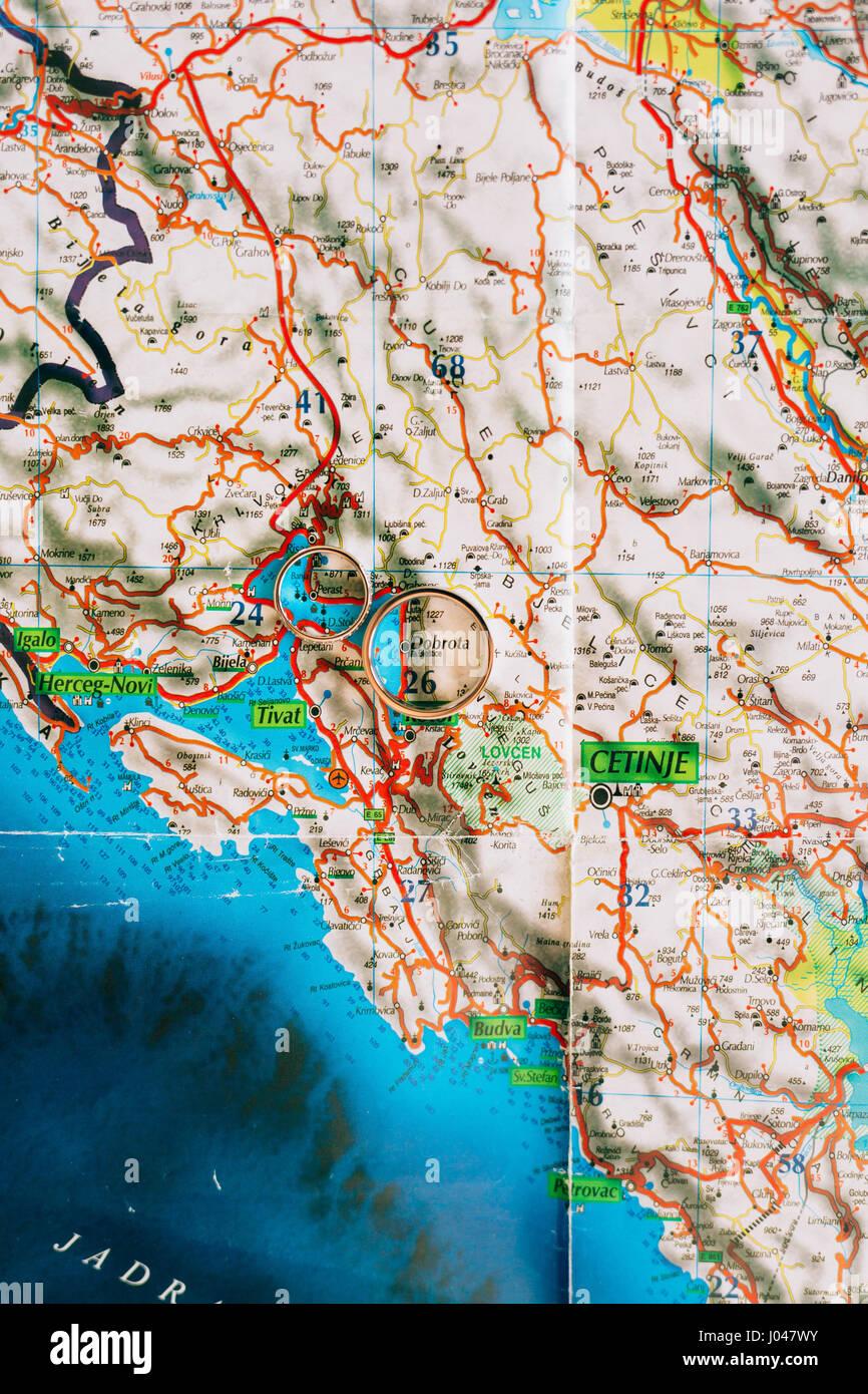 Vintage Paper Map Montenegro Stock Photos Vintage Paper Map